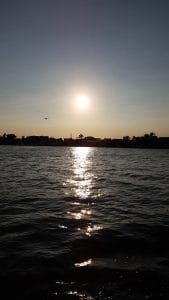 Sun sinking over Belize City