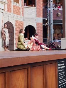 Lysander, Helena and Demetrius watched by the fairy king in production of Midsummer Nights Dream at Popup Globe Sydney