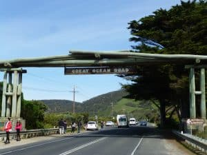 Archway over road depicting beginning of the Great Ocean Road at Torquay end