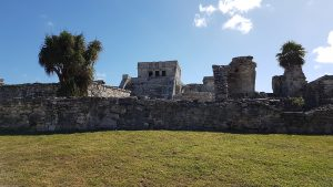 The Castle; the most important building in Tulum. It was once brightly painted.