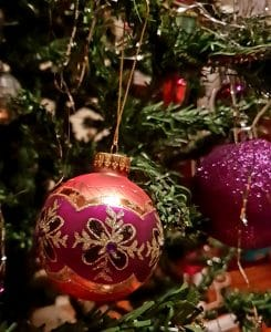 Christmas baubles on tree